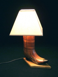 WOODEN BOOT LAMP 17 INCH H