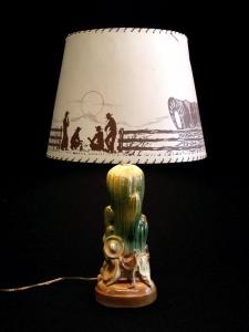 CERAMIC CACTUS LAMP 27 IN H