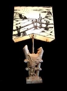 CERAMIC SADDLE LAMP 28 IN H