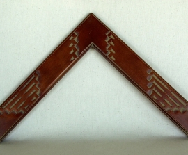 New Mexican carved, Dark Cherry, No. 44, 2 1/2 in wide x 3/4 in H