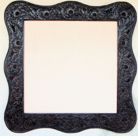 Hand Tooled Leather Frame 30 x 30 opening, Click on Leather Frames under Custom Picture Framing to see more examples