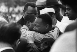 MLK, Jr being congratulated after his speech. August 28, 1963.