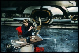"""Lee Bontecou with """"Untitled"""" wall relief, Wooster Street studio, New York, 1964"""