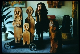 """Marisol Escobar, West 10th Street, New York, 1958, with """"The Hungarians"""""""