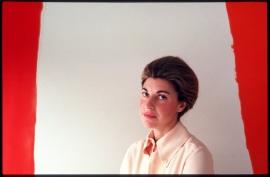 "Helen Frankenthaler, New York, 1986, with ""Summer Banner"""