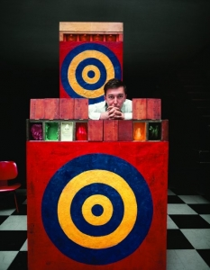 """Jasper Johns with """"Target with Plaster Casts"""", and """"Target with Four Faces"""", at the Ernst Haas studio, East 71st Street, New York, 1958. Archival pigment print. Price on request."""