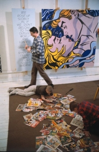 """Roy Lichtenstein with his sons David and Mitchell, West 26th Street studio, New York, 1964, with """"We Rose Up Slowly"""""""