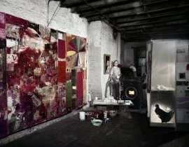 "Robert Rauschenberg, Pearl Street studio, with ""Charlene"", left, and ""Monogram"", New York, 1958"