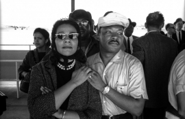 Selma to Montgomery March 1965 Day 4, Selma to Montgomery March 1965 DAY 4 - Coretta Scott King and Dr. Martin Luther King, Jr. at the Montgomery Municipal Airport. Vintage Forte paper, 8 x 10 inch format paper size, $2,500.00.