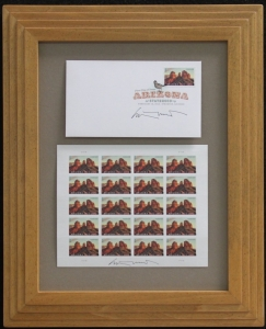 Arizona Centennial Commemorative Stamp, Arizona First Day of Issue by Ed Mell, Custom frame with autographed stamps and First Day of Issue with Signature Frame, Desert tone finish 16 x 13 inches Price $250.00 Shipping included.
