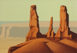 Ed Mell 17 x 25 in, Three Sisters, Stone Lithograph 92/100 Published by Southwest Graphics, $850.00