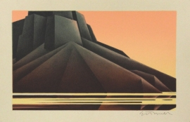 Ed Mell, small rare stone lithograph, 6 x 9 inches, edition of 50, $750.00
