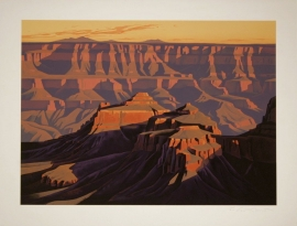 Shadows on the South Rim, Grand Canyon, Ed Mell, Stone Lithograph, image size 26 x 36 inches, paper size 32 x 42, $2,000.00