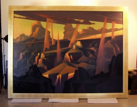 Ed Mell, Grand Canyon painting 74 x 94 inches