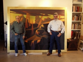 Ed Mell and Michael Collier, Grand Canyon painting 74 x 94 inches, private collection
