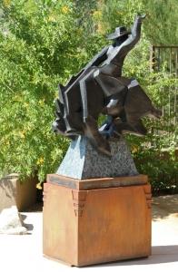 Custom steel base design for Ed Mell bronze, front, $4,800.00