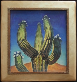 Saguaro, hand carved frame with warm silver finish, Lon Megargee Circle M signature logo 22 x 20 inches.