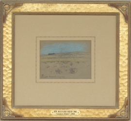 Colorado Desert 1902, Hand carved gilded framed example of Maynard Dixon artwork with custom Dixon motif in corner. Frame is 1 3/4 inches wide with a custom French mat with hand applied lines