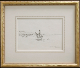 Hand Carved Drawing Frame, 1 inch wide, Ed Borein Pen & Ink, , 12.75 x 15.5 inches