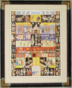 Indians of North America 1936, 31x25 inches Framed 41x33 inches