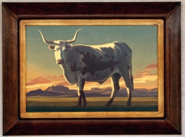Ed Mell Small Modern Signature Frame & Hand made 3 inch leather frame, 18 x 24 inches