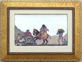 Hand Carved Gold Leaf frame, Lon Megargee, Sketch for mural Painting on board 15.75 x 20.75