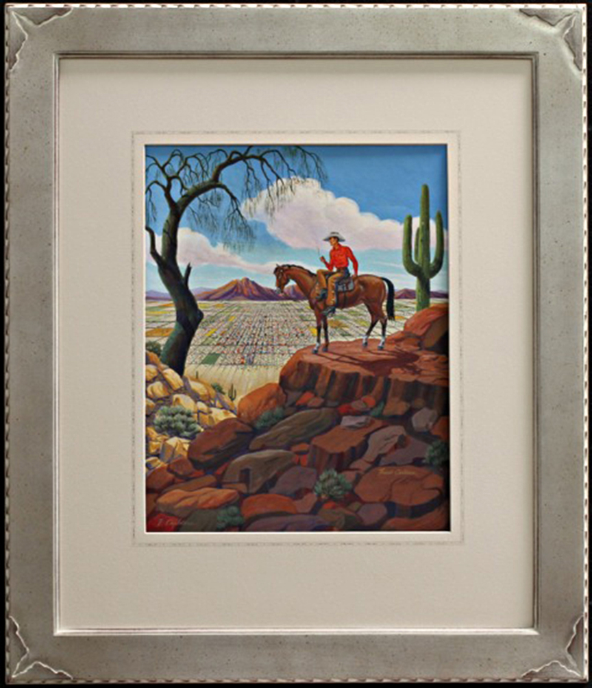 Custom picture frames collier gallery ltd hand carved silver leaf frame with camelback mountainlonghorn silhouette corner logo jeuxipadfo Choice Image