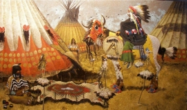 Blackfoot Greg Singley Oil on Canvas 36 x 60 inches Price on Request
