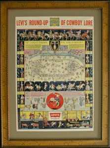 Levi's Round Up of Cowboy Lore, 2nd Printing Late 50s. In the second version the Levi's logo has been changed, including the font. $2,500.00 framed