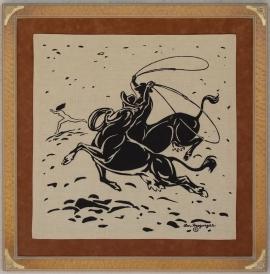 Cow-boys Linen Scarf 20 x 20 SOLD