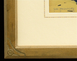 Hand carved corner with Megargee logo and hand applied French lines Conservation framing