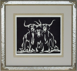 Longhorns ca. 1920s Block-print 12 x 14.25, price on request.