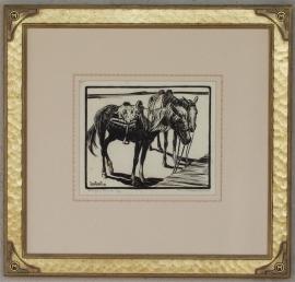 Navajo Ponies 1920s Block-print 7.25 x 9, price on request.