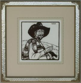 Sheepherder ca. 1920s Block-print 11 x 11
