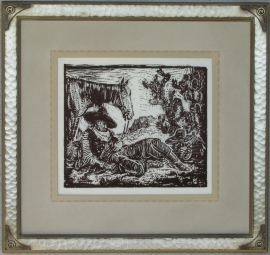 Siesta ca. 1920s Block-print 10.5 x 12.5