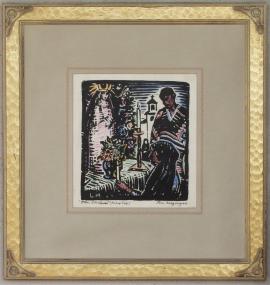 The Shrine, Mexico Block-print 9.25 x 8.25, SOLD