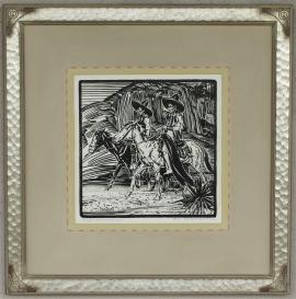 Three Horsemen Block-print 11 x 11, price on request.