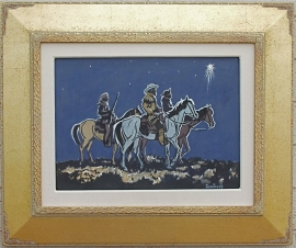 Three Wise Men Painting on board Framed 22.5 x 27 SOLD