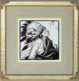War Bonnet ca. 1920s Block-print 11 x 11