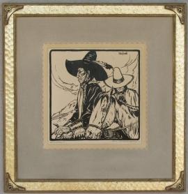 Apaches ca. 1920s Block-print 11 x 11 SOLD
