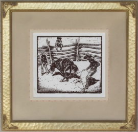 Bronc ca. 1920s Block-print 9 x 10, price on request.