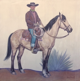 Portrait, Lon Megargee, 52.5 x 52.5 inches. Oil on canvas, framed. Ca. 1939. Painting was a commission for the N. Porter Saddle & Harness Company, Phoenix, Arizona. $25,000.00