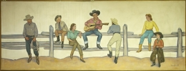 Mural , Lon Megargee, oil on canvas, 54 x 144 inches, ca. 1939. Painting was a commission for the N. Porter Saddle & Harness Company, Phoenix, Arizona. $35,000.00