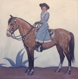 Portrait, Lon Megargee, 52.5 x 52.5 inches. Oil on canvas, framed, ca. 1939. Portrait of Sally Parrish, she was the fifth wife of Lon Megargee. Painting was a commission for the N. Porter Saddle & Harness Company, Phoenix, Arizona. Call for pricing. $25,000.00