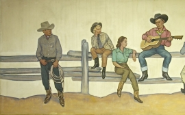 Detail 1, Mural , Lon Megargee, oil on canvas, 54 x 144 inches, ca. 1939. Painting was a commission for the N. Porter Saddle & Harness Company, Phoenix, Arizona.