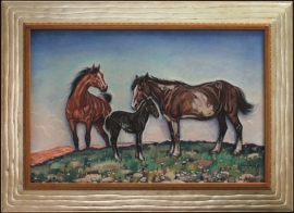 The Mule Colt Lon Megargee 20 x 30 inches Oil on Board ca. 1940s $13,000.00