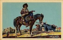 2 Lone Cowboy Postcard Series