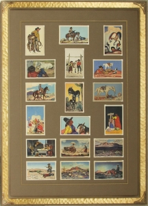 Complete series of 18 Postcards, framed with Lon Megargee signature Circle M logo frame.