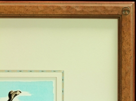 Detail of Maynard Dixon signature Thunderbird logo corner frame with hand applied French lines