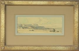 Maynard Dixon Arizona Desert 1941 4.75 x 13 inches conte crayon. Custom Dixon signature frame with Thunderbird logo. French matting with hand dyed mat, archival standards. $12,000.00